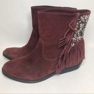 Reba maroon burgundy studded suede boots
